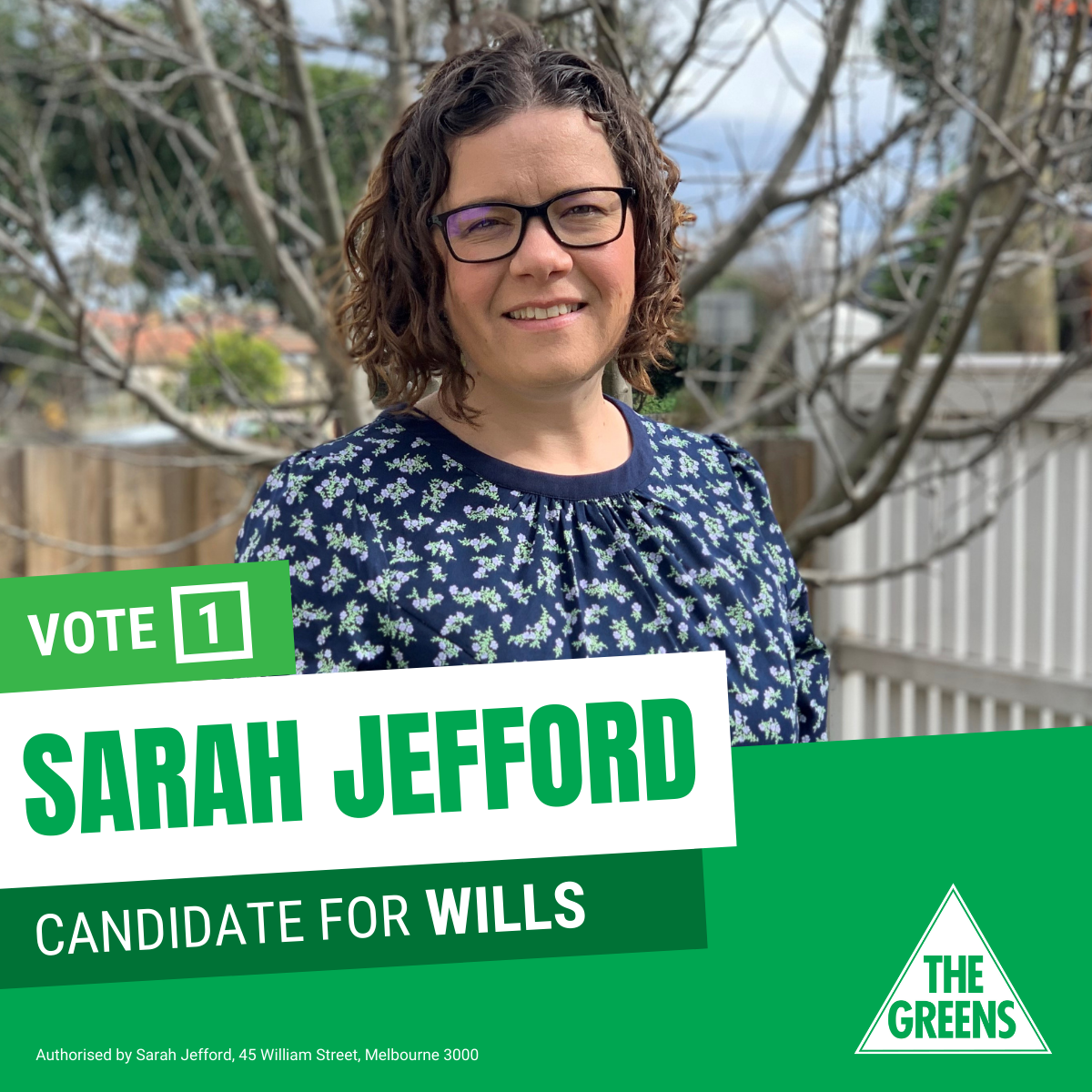 a photo of Sarah Jefford with green overlay with text that reads Vote 1 Sarah Jefford Candidate for Wills and the Greens triangle in the corner.